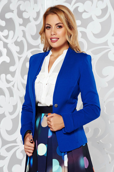 Blue office tented jacket slightly elastic cotton long sleeved