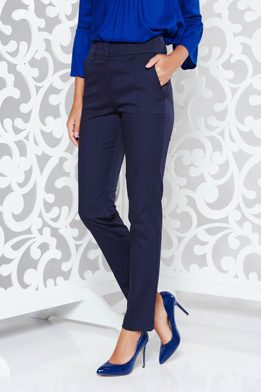 Darkblue trousers office slightly elastic fabric with medium waist with pockets with straight cut