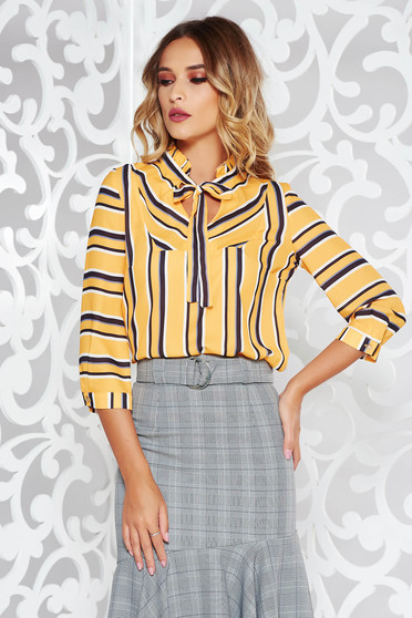 Mustard office flared women`s blouse voile fabric with v-neckline with stripes
