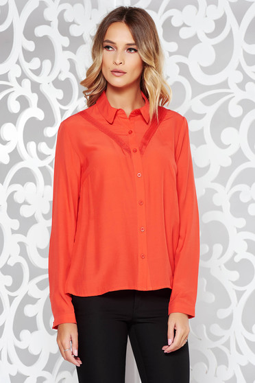 Coral women`s shirt office flared airy fabric with lace details