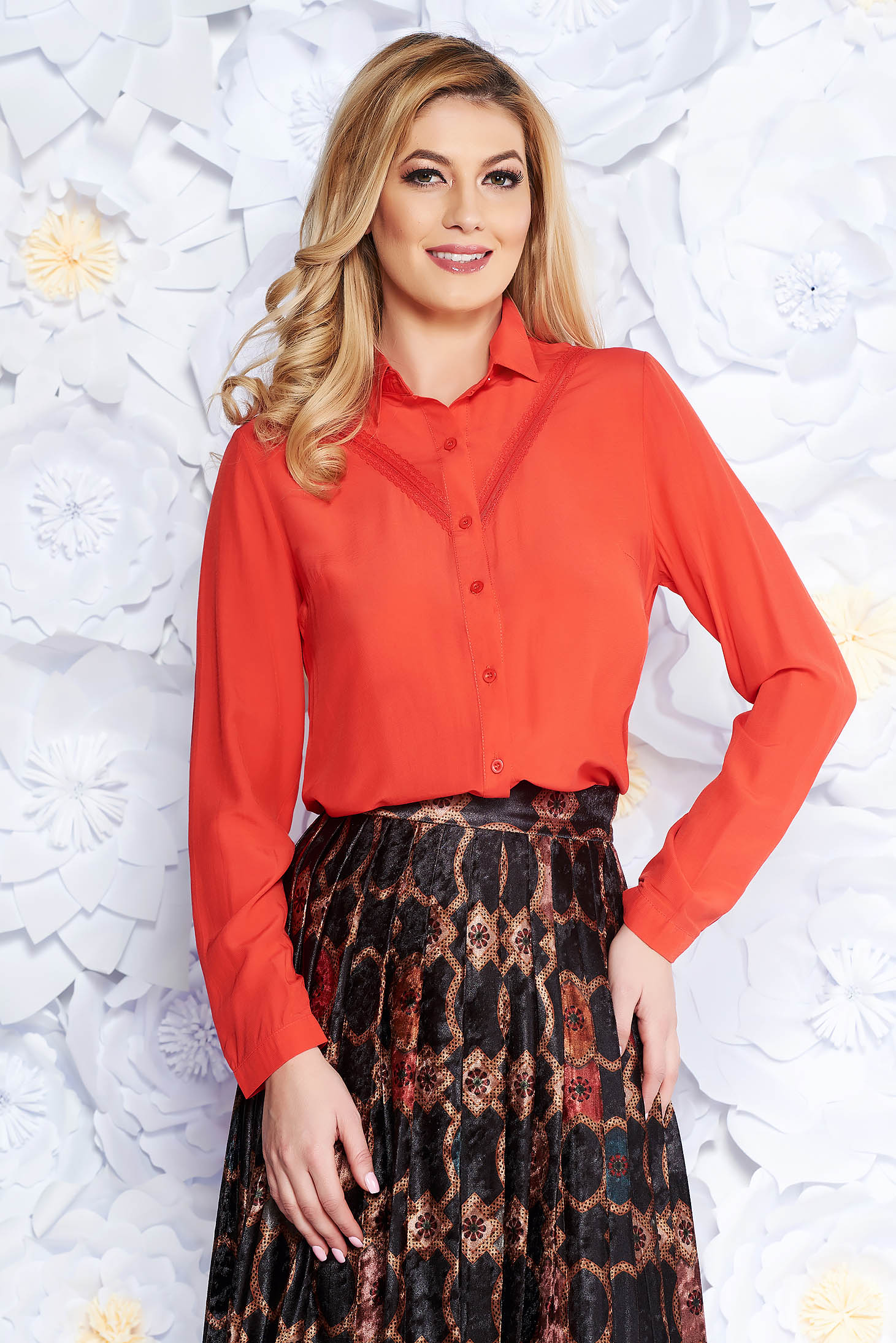 Coral office flared women`s shirt airy fabric with lace details