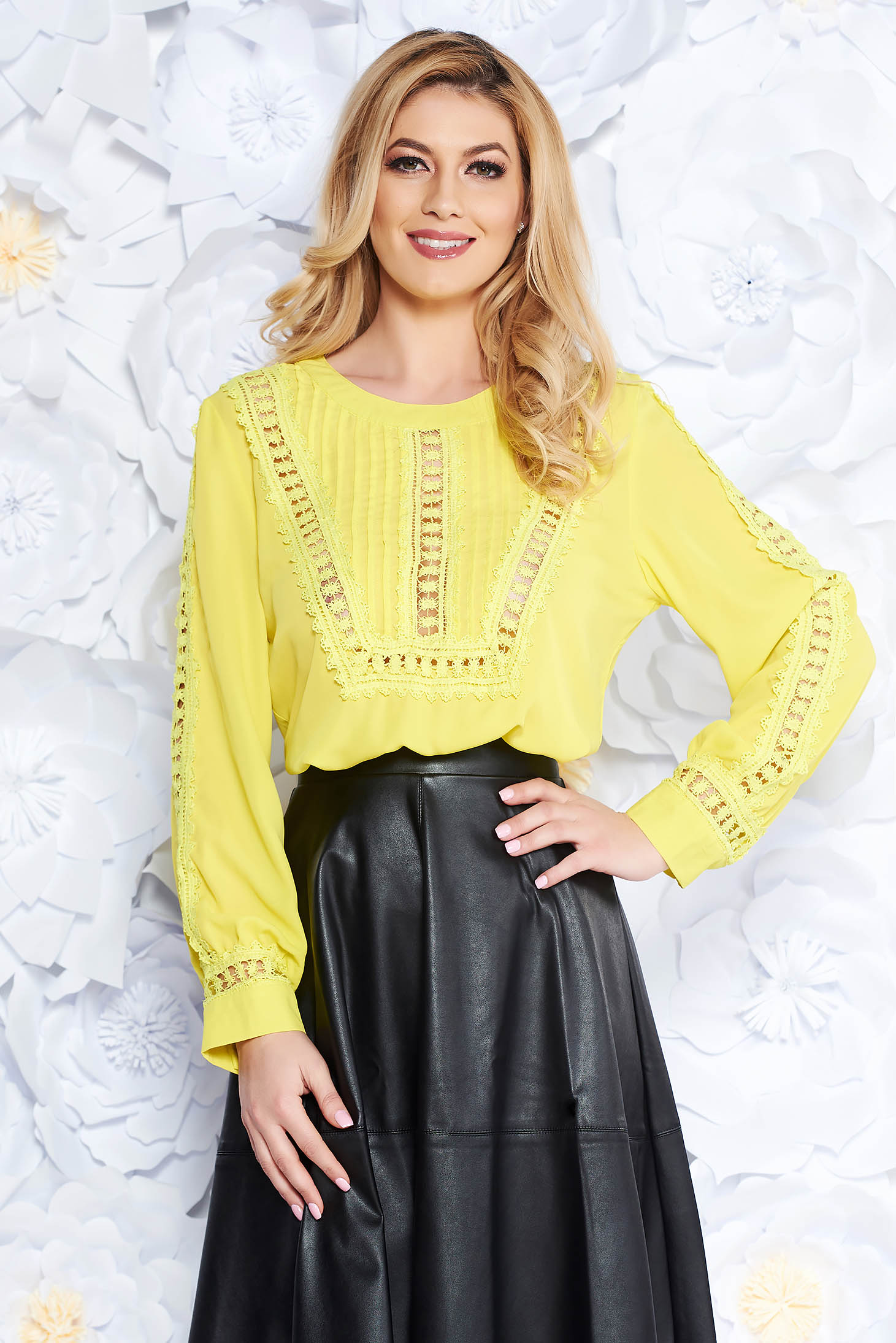 Yellow casual flared women`s blouse from veil fabric with lace details