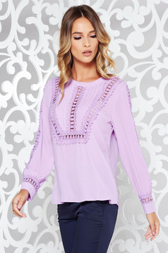 Lila women`s blouse casual flared from veil fabric with lace details