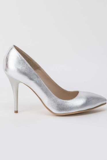 Silver shoes elegant natural leather with high heels slightly pointed toe tip