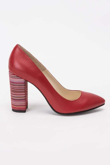Red elegant shoes natural leather slightly pointed toe tip