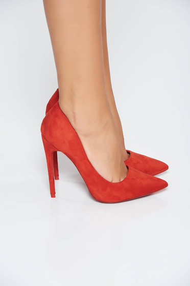 Red shoes office natural leather slightly pointed toe tip with high heels