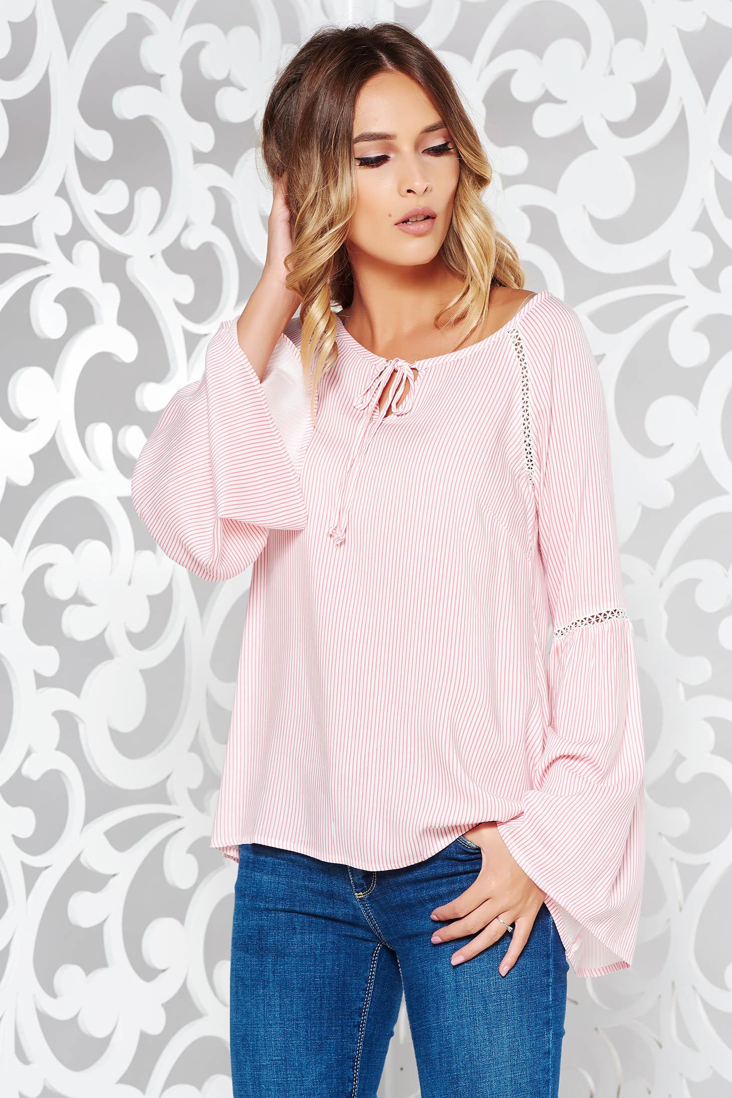 Bluza dama rosa casual cu croi larg din material vaporos cu maneci clopot