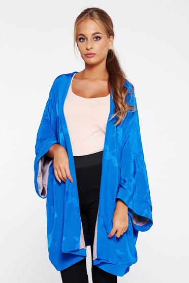 Blue casual long with easy cut cardigan from satin fabric texture