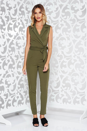 Khaki casual jumpsuit from soft fabric with v-neckline accessorized with tied waistband with tented cut