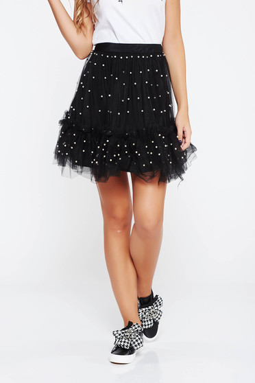 Black skirt clubbing cloche net with inside lining with pearls with ruffle details