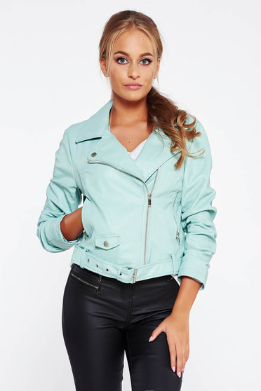 Mint jacket casual from ecological leather with inside lining with pockets
