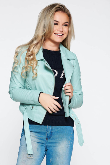 Mint casual jacket from ecological leather with inside lining with pockets