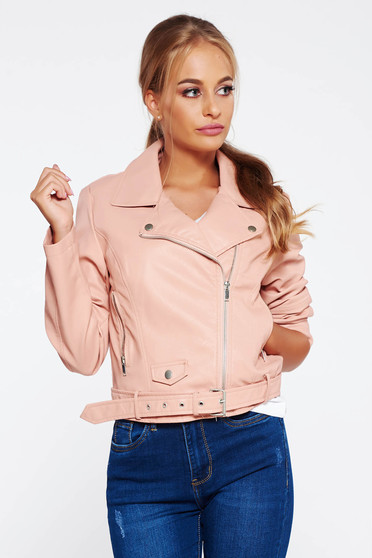Rosa jacket casual from ecological leather with inside lining with pockets