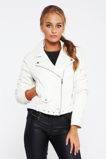 White jacket casual from ecological leather with inside lining with pockets
