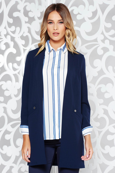 Darkblue jacket office flared slightly elastic fabric with faux pockets
