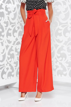 Coral elegant high waisted flared trousers slightly elastic fabric accessorized with tied waistband