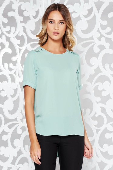 Mint women`s blouse elegant flared voile fabric asymmetrical with button accessories