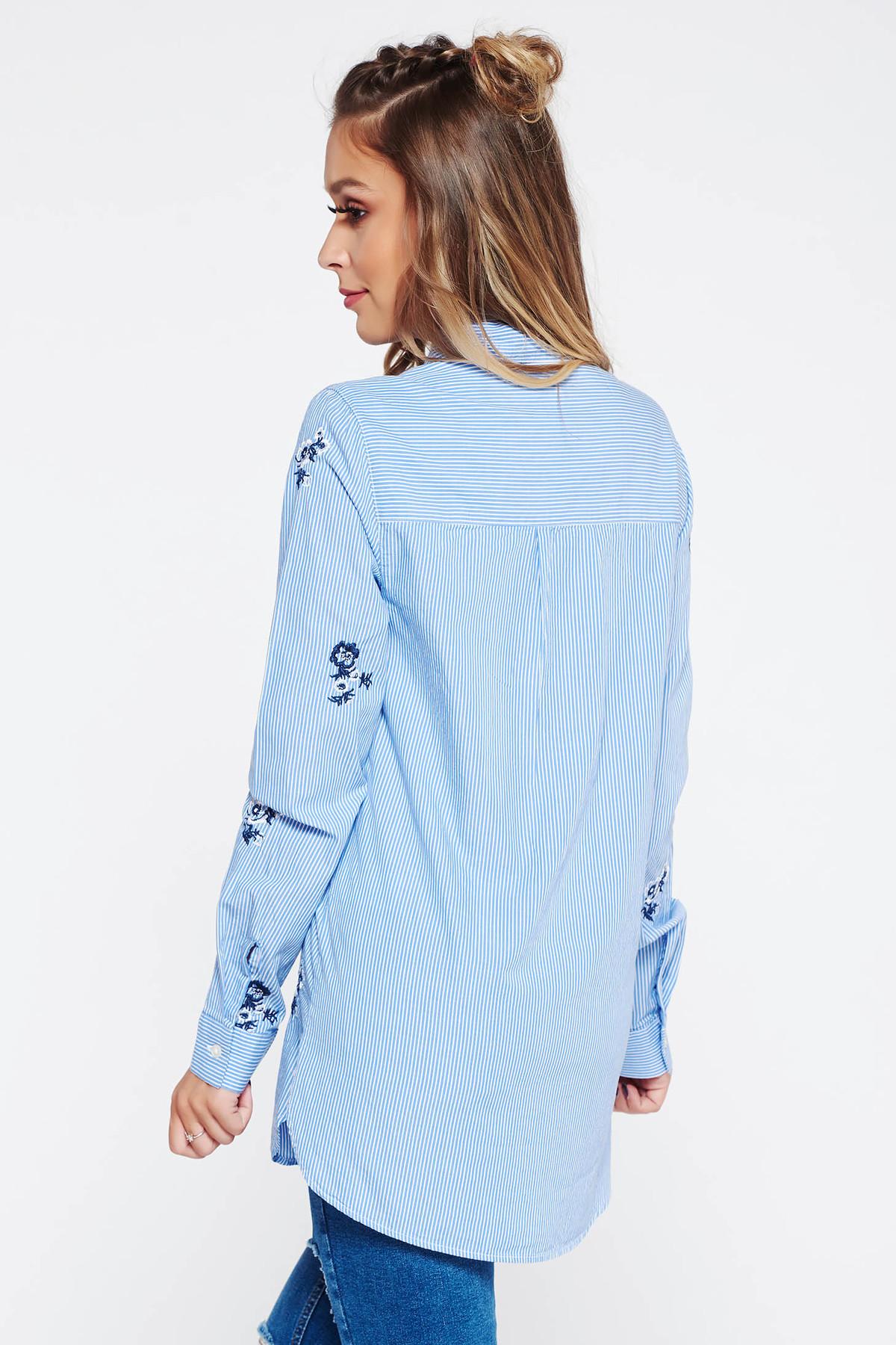 Camasa dama albastra casual din bumbac cu insertii de broderie