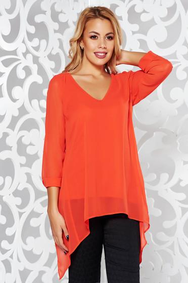 Red elegant asymmetrical flared women`s blouse with v-neckline