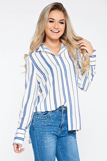 Blue office flared women`s shirt long sleeve voile fabric with stripes