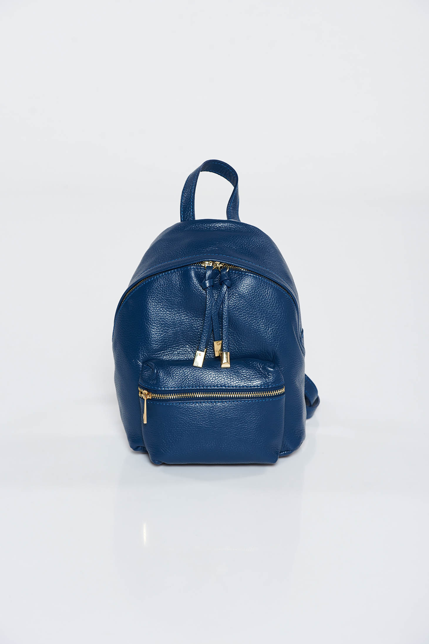 Darkblue casual backpack natural leather with metal accessories