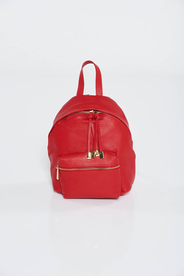 Red backpacks casual natural leather with metal accessories