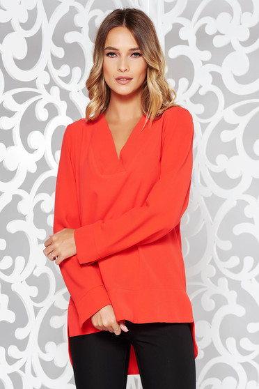 Red women`s blouse elegant flared asymmetrical nonelastic fabric with v-neckline