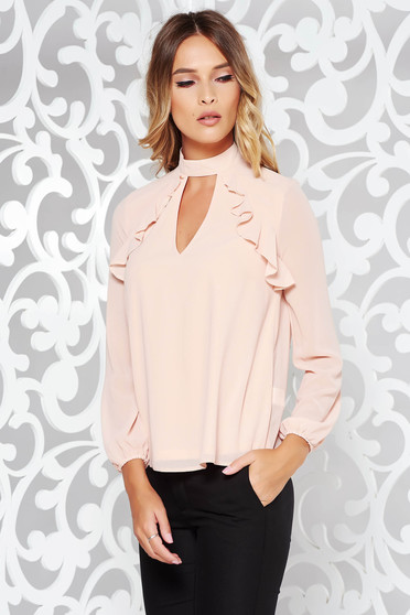 Peach women`s blouse elegant flared voile fabric with inside lining cut-out bust design with ruffle details