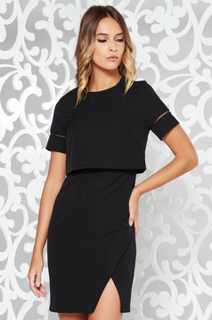 Black elegant dress slightly elastic fabric with inside lining with tented cut