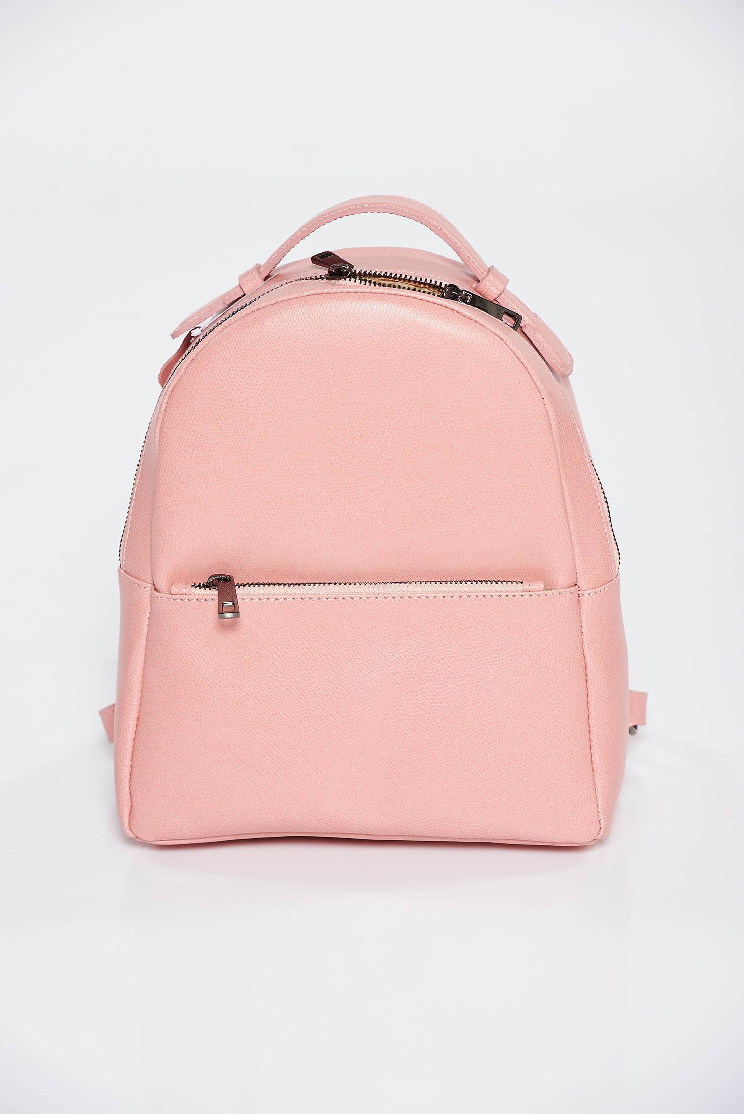 Rucsac roz deschis casual din piele naturala cu bretele ajustabile si fermoare