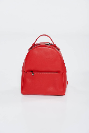 Red backpacks casual natural leather