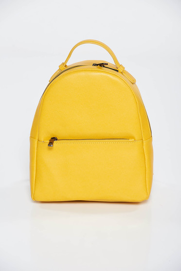 Yellow backpacks casual natural leather