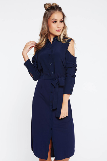 Darkblue dress casual flared airy fabric both shoulders cut out accessorized with tied waistband