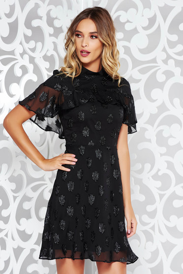 Black dress occasional voile fabric with inside lining with ruffles on the chest with bright details