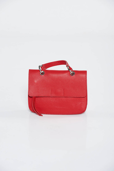 Red casual bag natural leather