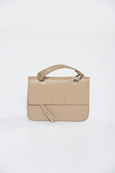 Cream casual bag natural leather