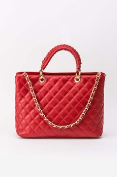 Red office bag natural leather long chain handle