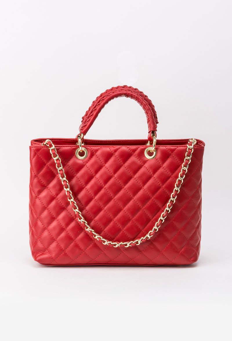 Geanta dama rosie office din piele naturala cu maner lung tip lantisor din material matlasat