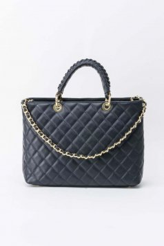 Darkblue office bag natural leather long chain handle