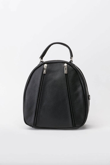 Black backpacks casual natural leather
