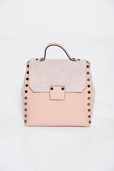 Rosa casual backpacks natural leather with metallic spikes