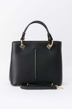 Black office bag natural leather with metal accessories