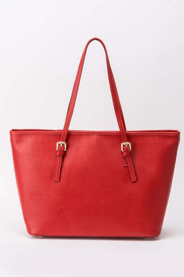 Red office bag natural leather