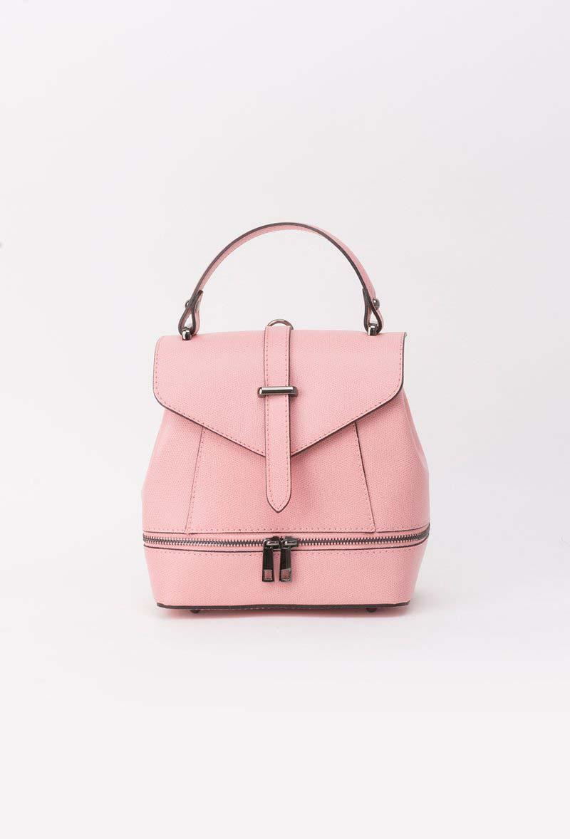 Rózsaszínű bőr hátizsákok cipzárral van ellátva fém csat