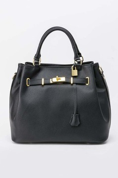 Black office bag natural leather with metalic accessory