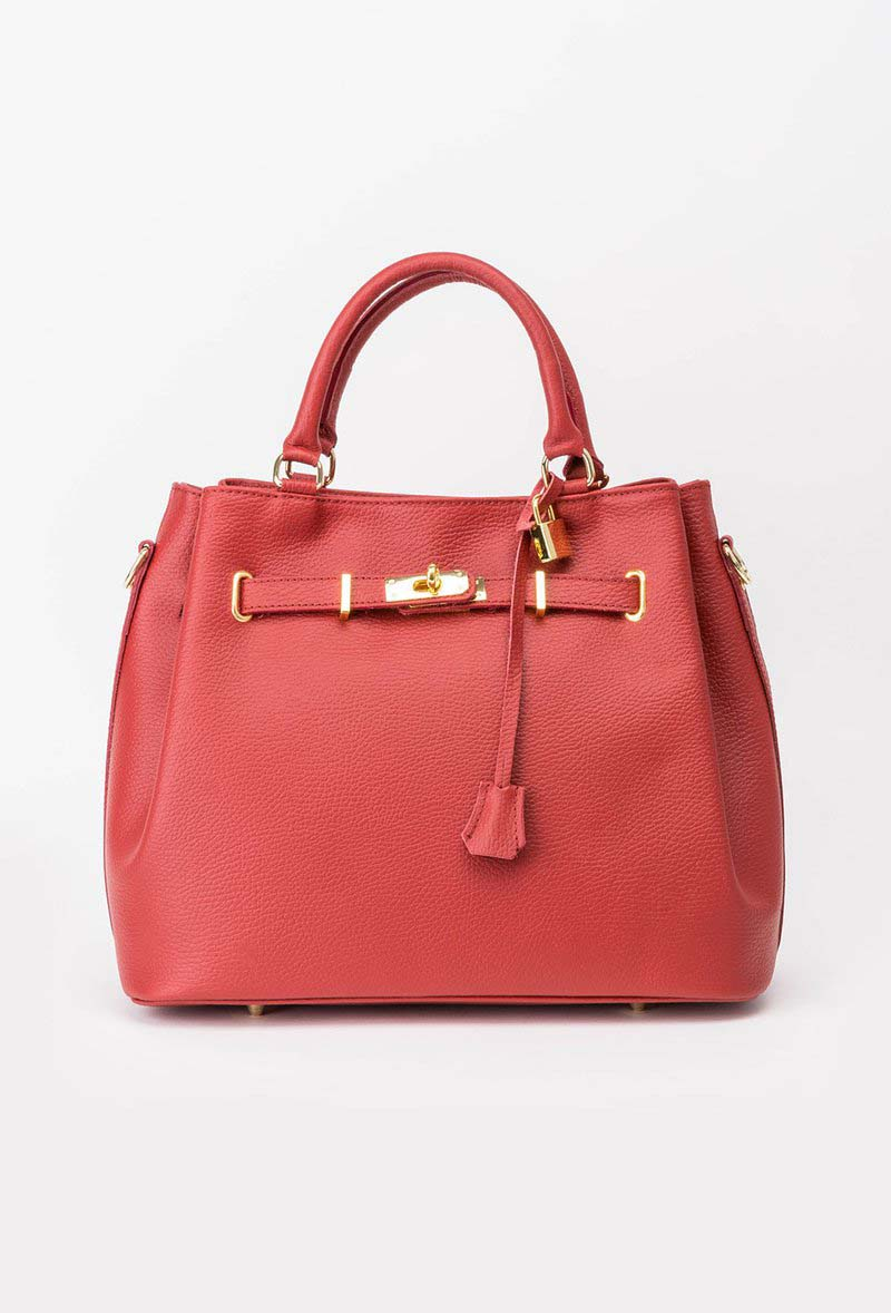 Red office bag natural leather with metalic accessory