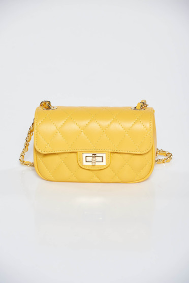 Yellow casual bag natural leather long chain handle