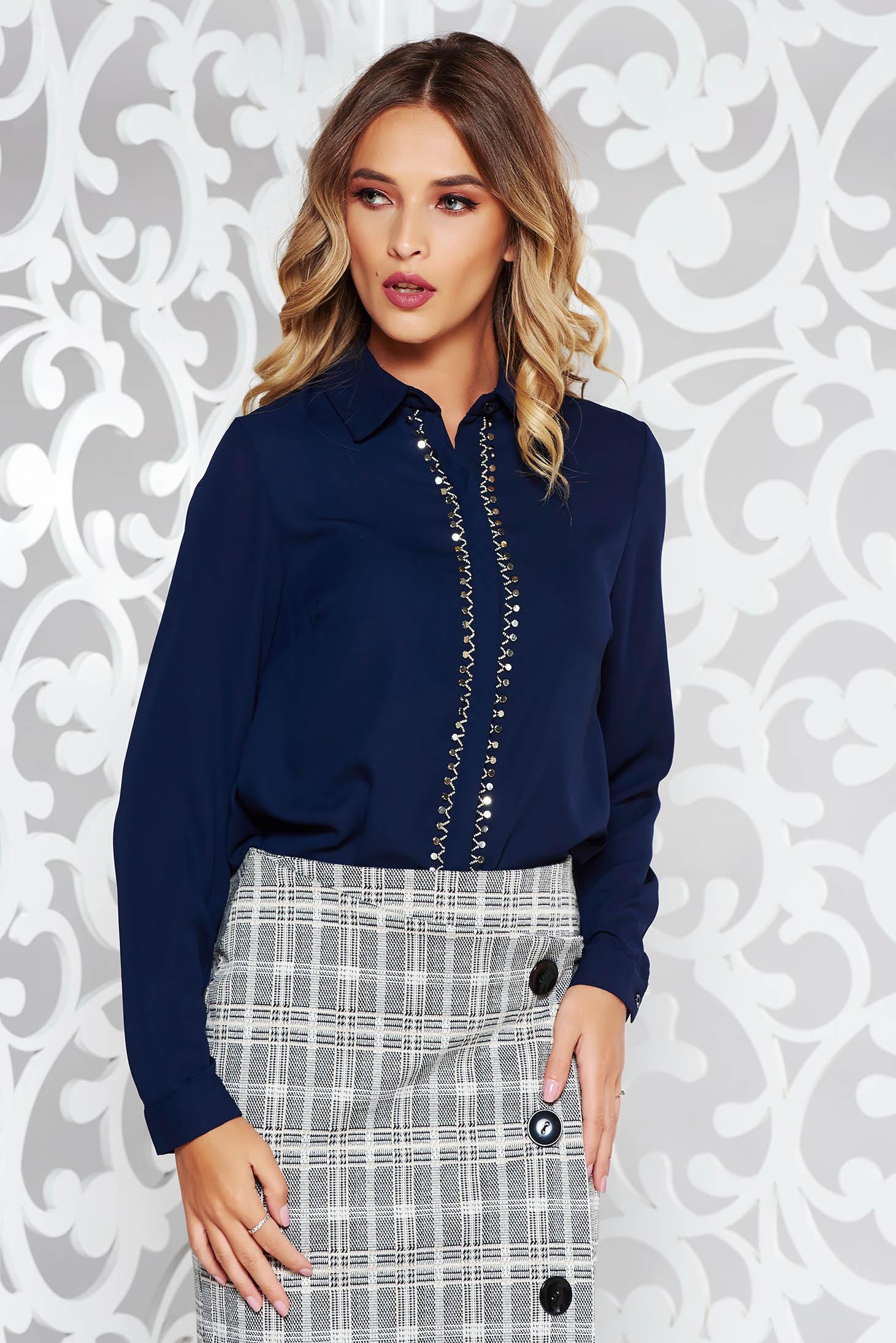 StarShinerS darkblue women`s blouse elegant flared voile fabric metallic details
