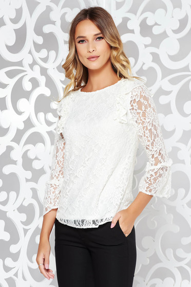 StarShinerS white women`s blouse elegant flared from laced fabric with inside lining with ruffled sleeves
