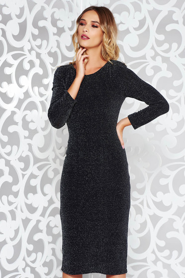 StarShinerS black dress occasional from elastic fabric with inside lining with tented cut